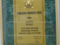 Jubilejna plaketa ZVVS ob 20 letnici delovanja OZVVS Kranj
