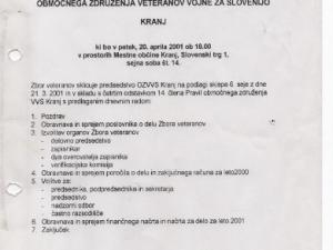 Vabilo veteranov 2001 - Kranj